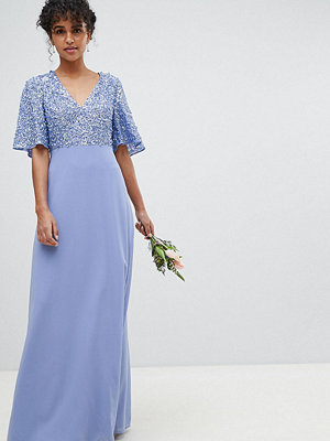 Maya Sequin Top Maxi Bridesmaid Dress With Flutter Sleeve Detail - Bluebell