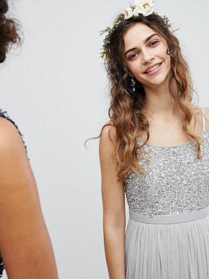 Maya Cami Strap Sequin Top Tulle Detail Midi Bridesmaid Dress