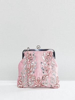Maya kuvertväska Allover Sequin Embroidered Clutch Bag - Vintage rose