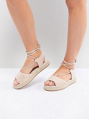 ASOS JUMP ON Wide Fit Tie Leg Espadrille Sandals