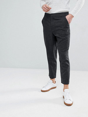 ASOS Tapered Smart Trouser In Charcoal Texture With Elasticated Back