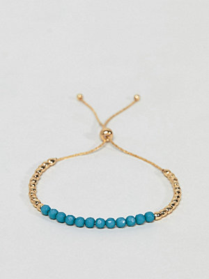 ASOS armband DESIGN Faux Lapis Stone And Metal Bead Bracelet