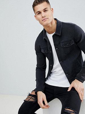 Jeansjackor - ASOS Skinny Denim Jacket With Cord Collar In Washed Black