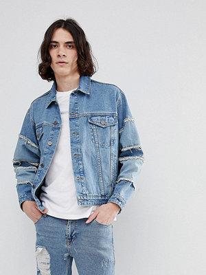 Jeansjackor - ASOS Oversized Denim Jacket With Frayed Sleeve In Blue Wash