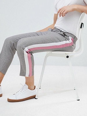 ASOS Tapered Smart Trousers In Grey Texture With Pastel Side Stripes