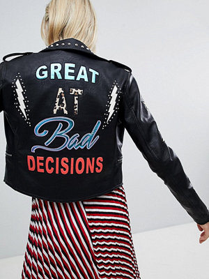 Only Leather Embroidered Look Biker Jacket With Studs