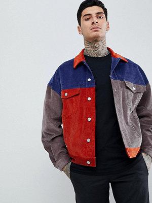 Jeansjackor - ASOS Oversized Cord Jacket In Colourblock Navy