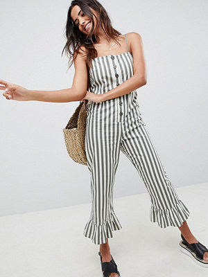 ASOS DESIGN cotton frill hem jumpsuit with square neck and button detail in stripe