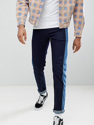 ASOS DESIGN Tall Slim Jeans In Indigo With Side Stripe Insert
