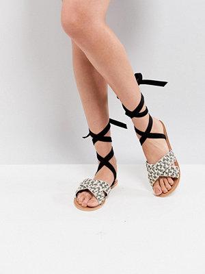 Glamorous Woven Raffia Ankle Tie Flat Sandal