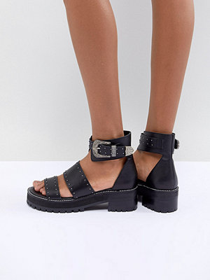 ASOS DESIGN Foxglove Premium Leather Gladiator Flat Sandals