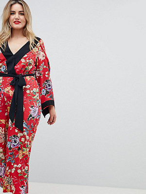 ASOS Curve ASOS DESIGN Curve Kimono Jumpsuit With Tipping In Floral