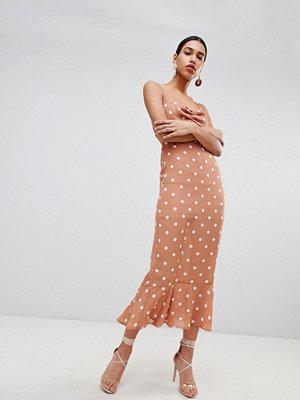 Fashion Union Tie Back Maxi Dress In Vintage Spot - Apricot spot