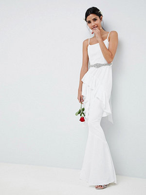 ASOS Edition Ruffle Maxi Wedding Dress With Embellished Belt