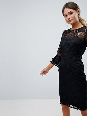 Little Mistress Lace Pencil Dress With Frill Sleeves