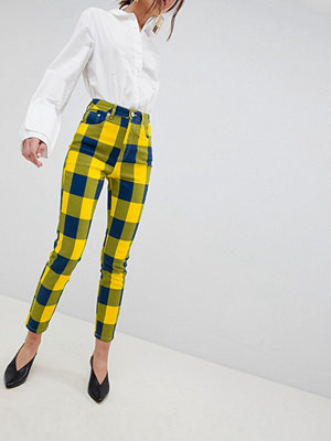 ASOS DESIGN Farleigh High Waist Slim Mom Jeans In Yellow Check - Yellow