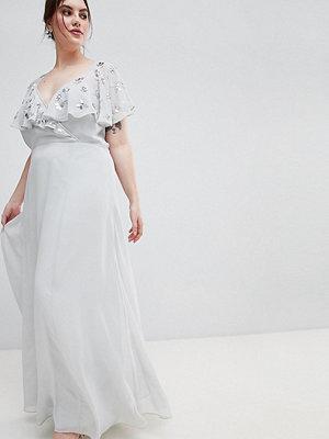 ASOS Curve ASOS DESIGN Curve wrap maxi dress with embellished flutter sleeves