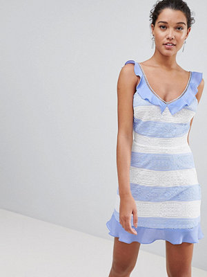 PrettyLittleThing Lace Detail Stripe Dress
