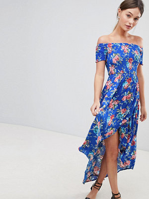 Parisian Floral Off Shoulder Midi Dress