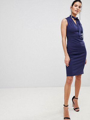 City Goddess Tie Collar V Neck Midi Dress - Cobalt
