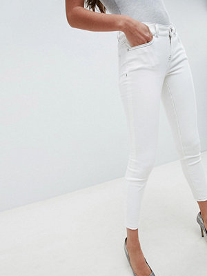 ASOS DESIGN Whitby Låga jeans i offwhite med kontrastsöm