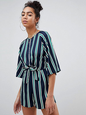 Missguided Stripe Tie Front Playsuit