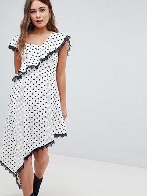 Boohoo Polka Dot Asymmetric Dress