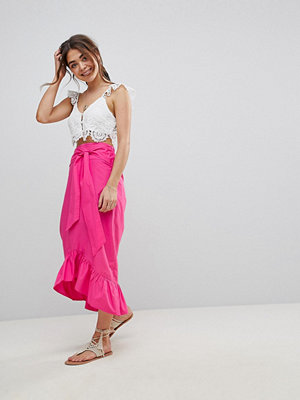 ASOS DESIGN cotton midi skirt with tie belt and ruffle hem