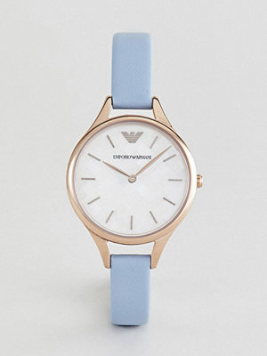 Klockor - Emporio Armani AR11109 Leather Watch In Blue 32mm