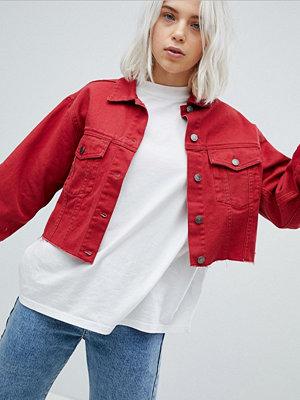 Pull&Bear Frayed Edge Cropped Denim Jacket - Dark red