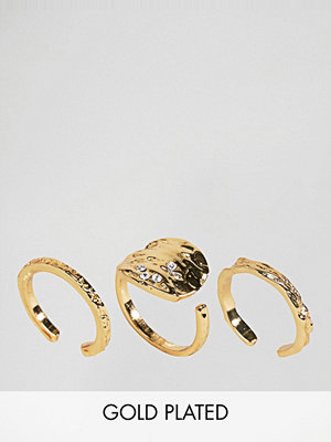 Pieces Hammered Gold Plated Ring Trio