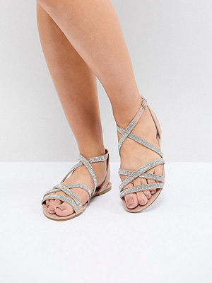 New Look Wide Fit Suedette Embellished Strappy Flat Sandal