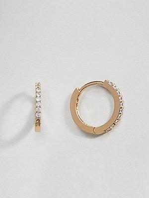 Orelia örhängen Gold Plated Small Crystal Huggie Hoop Earrings
