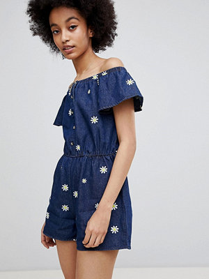Miss Selfridge Jeansplaysuit med tusenskönemönster Denim