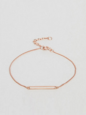 ASOS armband DESIGN Rose Gold Plated Sterling Silver Rectangle Charm Bracelet