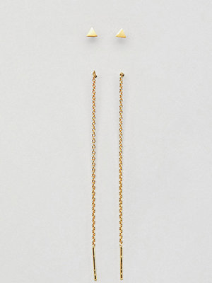 ASOS örhängen DESIGN Pack Of 2 Gold Plated Sterling Silver Stud And Pull Thorugh Earrings