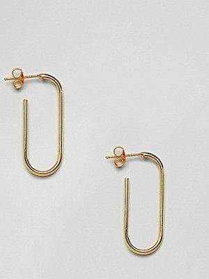 ASOS örhängen DESIGN Gold Plated Sterling Silver Oval Tube Hoop Earrings