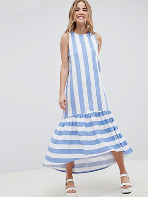 ASOS DESIGN Maxi Dress With Racer Back And Hi Lo Pep Hem In Deckchair Stripe