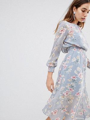 New Look Floral Shirred Waist Midi Dress