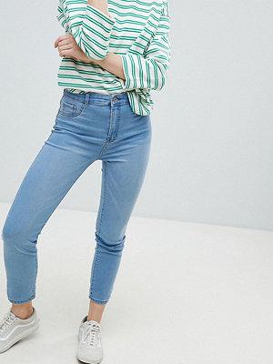 Pull&Bear High Waist Skinny Jean In Med Blue - Light blue