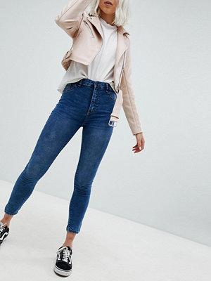 Pull&Bear High Waist Skinny Jean - Med blue