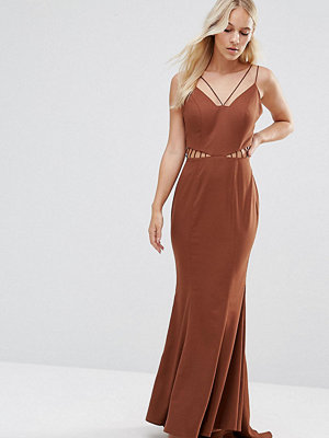 Jarlo Petite Strappy Maxi Dress With Waist Cutout Detail - Chocolate