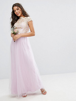 Chi Chi London Premium Lace Maxi Dress With Tulle Skirt - Lilac/rose gold