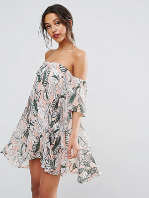 Boohoo Off Shoulder Pleated Print Shift Dress