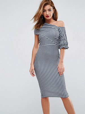 ASOS Textured Gingham Ruffle Sleeve Midi Dress - Check