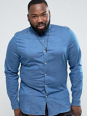 ASOS PLUS Stretch Slim Denim Shirt In Mid Wash