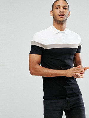 ASOS Muscle Fit Polo with Contrast Panels - Wht/clam/blk