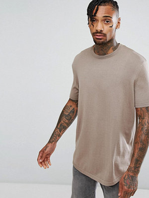 ASOS Knitted Relaxed T-Shirt In Oatmeal