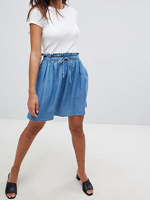 ASOS DESIGN denim paperbag skirt in midwash blue