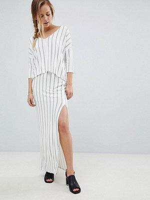 Bellfield Vana Pinstripe Split Side Maxi Skirt
